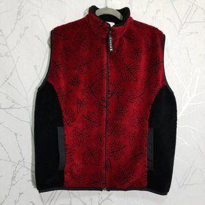 Nanuk Red Black Full Zip Fleece Vest Maple Leaves